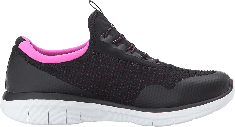 Skechers Women's Synergy 2.0- Mirror Image Wide Fashion Sneaker Black Hot Pink