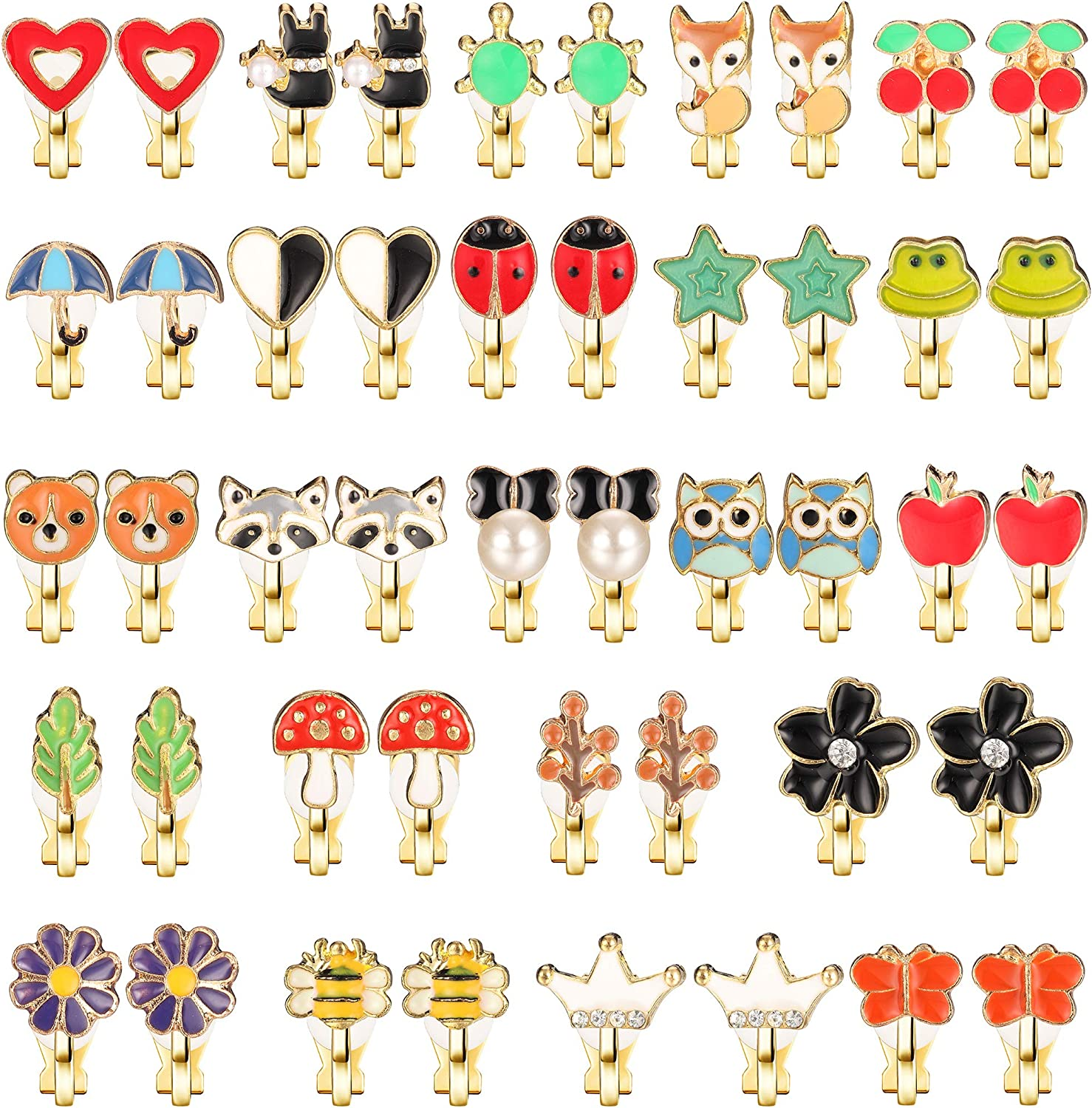 SAILIMUE 23 Pairs Clip On Earrings Set for Women Love Umbrella Tree Flower Mushroom Cherry Apple Fox Frog Butterfly Crown Pearl Cute Non Piercing Earrings Painless Colorful Dress Up Accessories Birthday Gift