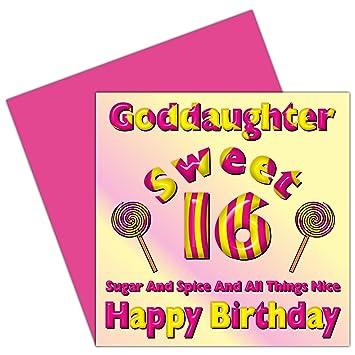 Goddaughter Sweet 16 Happy Birthday Card 16th Birthday Sixteen