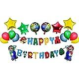 RORARO Mario Birthday Party Pack-Banner-Balloons Super Mario Bros Happy Birthday Banner Party Supplies Decorations…