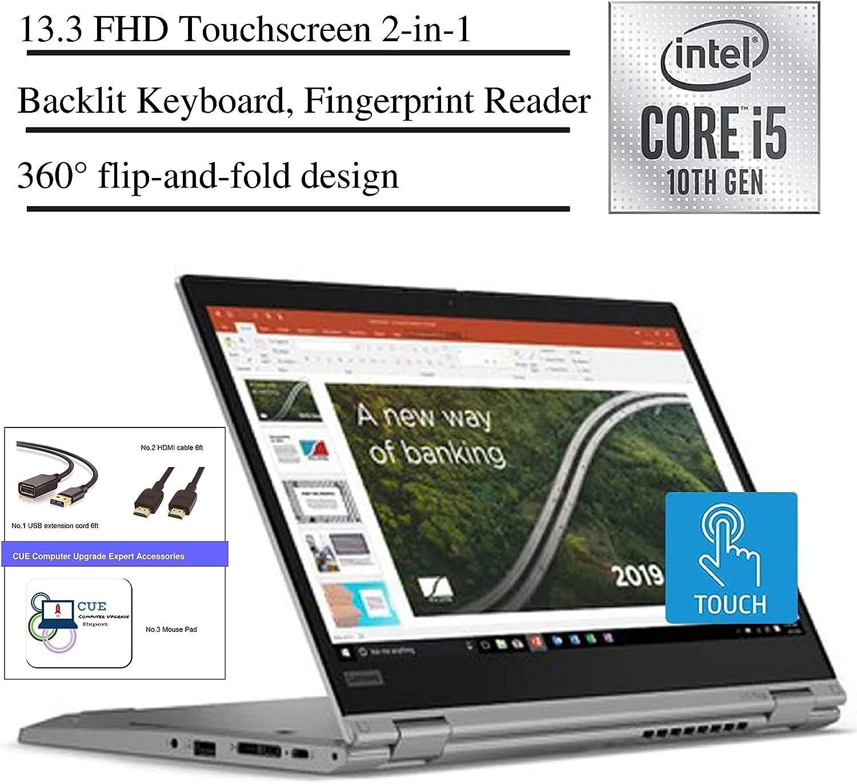 2020 Lenovo ThinkPad L13 13.3 Inch FHD 1080P Touchscreen 2-in-1 Laptop, Intel Core i5-10210U (Beats i7-7500U), Backlit KB, Win10+ CUE Accessories (8GB RAM| 1TB SSD)