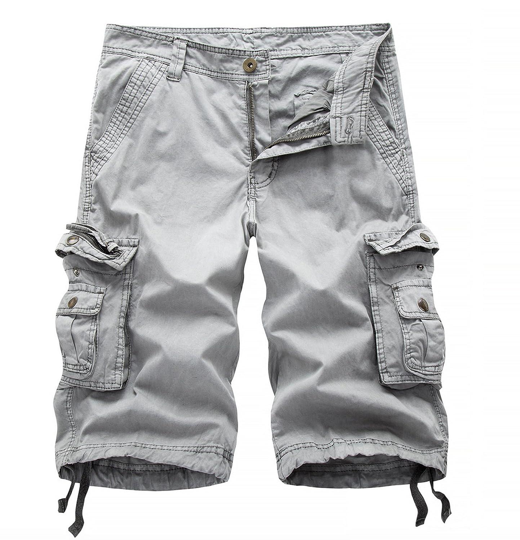Elonglin Mens Casual Cargo Shorts Cotton Summer Retro Shorts Multi Pockets EL.DK0351