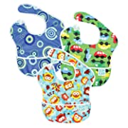 Bumkins SuperBib, Baby Bib, Waterproof, Washable, Stain and Odor Resistant, 6-24 Months, 3-Pack - Blue Fizz, Butterfly, Flutter Floral