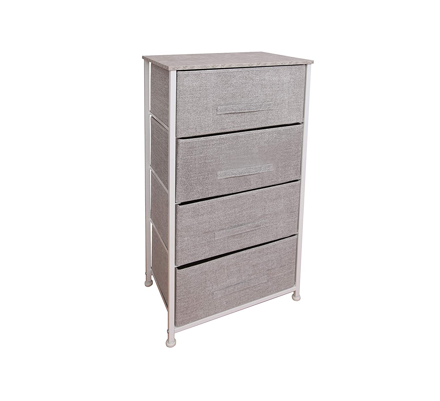 East Loft Tall 4 Drawer Dresser |Storage Organizer for Closet, Nursery, Bathroom, Laundry or Bedroom | Fabric Drawers, Solid Wood Top, Durable Steel Frame (Light Grey)