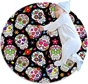 Area Rugs for Bedroom, Ultra-Luxurious Soft and Thick Non-Slip Carpet for Kids Baby Room, Nursery Modern Decor Rug 2.3Ft, Floral Sugar Skull Colorful Pattern