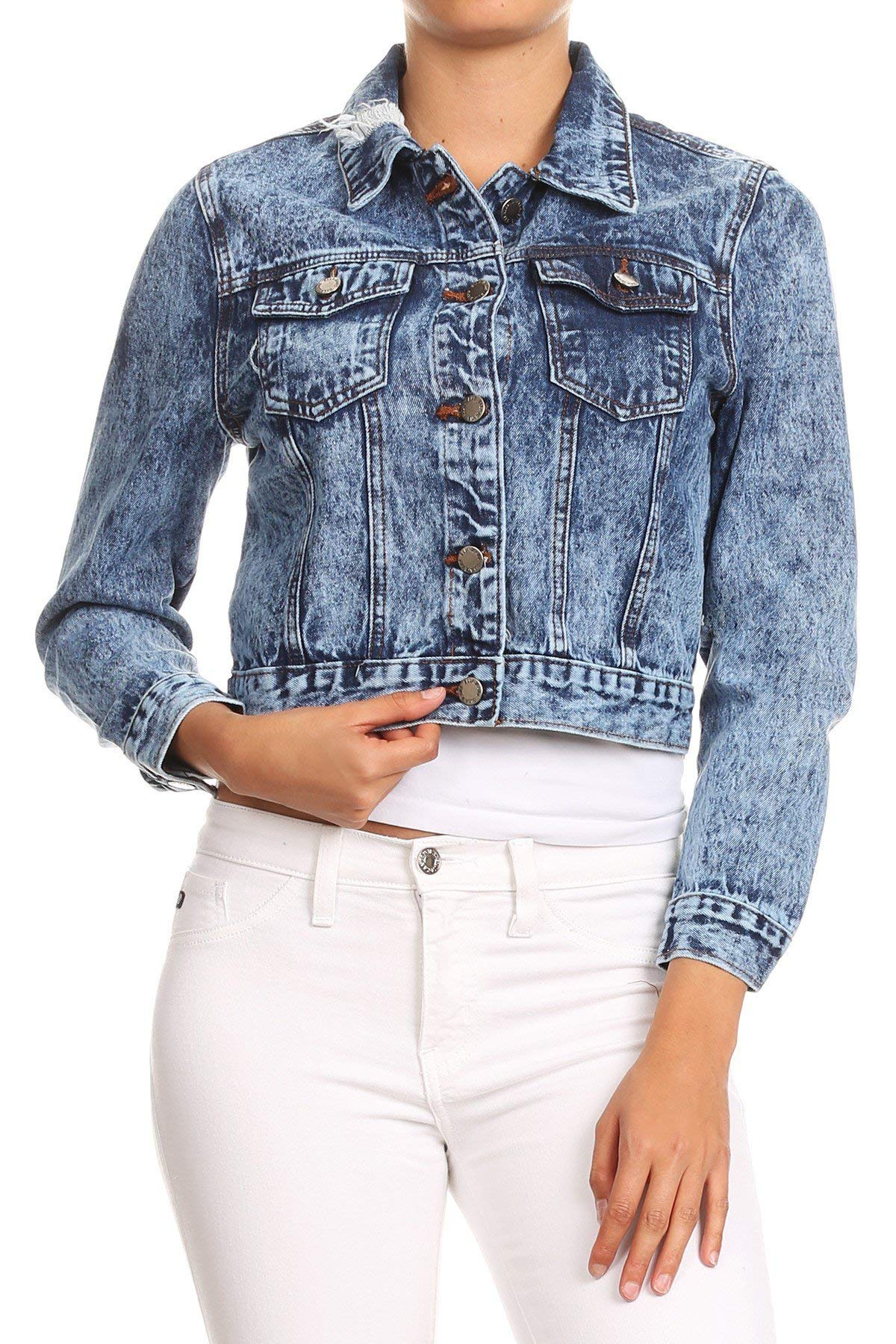 Women's Premium Denim Jackets Long Sleeve Ripped Jean Coats in Washed Blue Size M