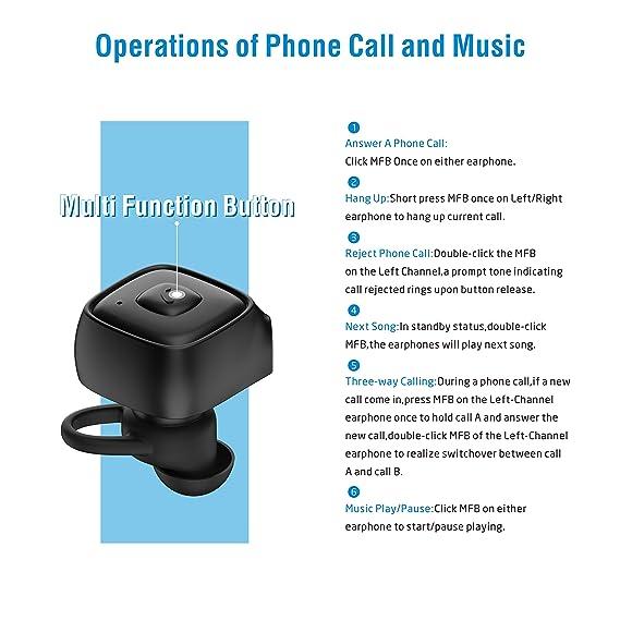 Auriculares Inalámbricos JEEMAK Auricular Bluetooth V4.2 Auriculares Estéreo Bass con Mic En Auriculares Inalambricos Deportivos Bluetooth Auriculares ...