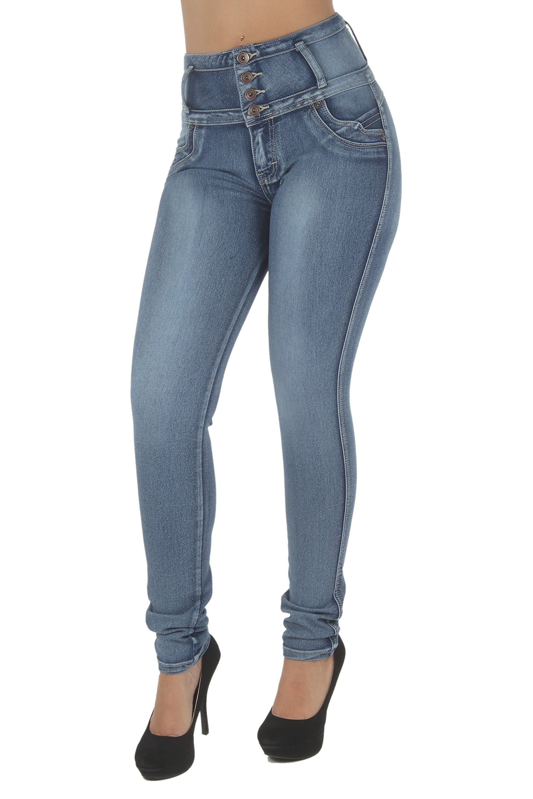 Fashion2Love N1191 – Colombian Design, Butt Lift, Levanta Cola, High Waist Sexy Skinny Jeans in Washed Blue Size 11