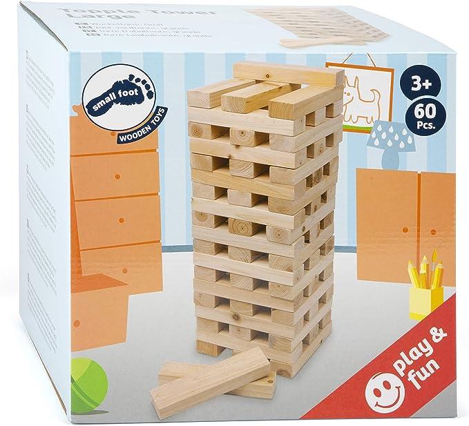 Small Foot 3451 XXL Torre bamboleante Grande de Madera, versión Interior más Grande, 60 Piezas, 20 x 4,5 x 2,5 cm: Amazon.es: Juguetes y juegos