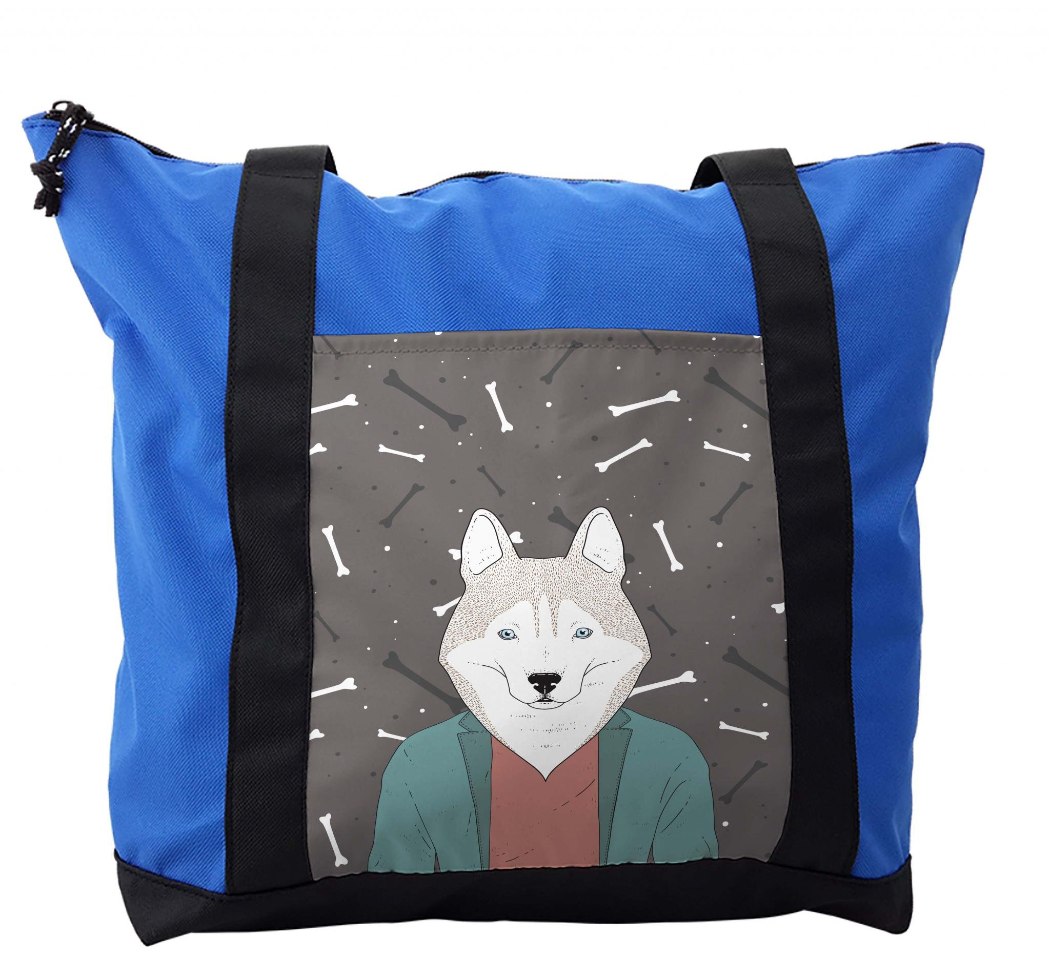 Lunarable Husky Shoulder Bag, Hipster Dog in Blazer Jacket, Durable with Zipper by Lunarable