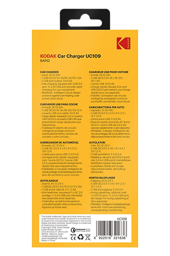 Amazon.com: KODAK UC109 USB Fast Car Charger: Automotive