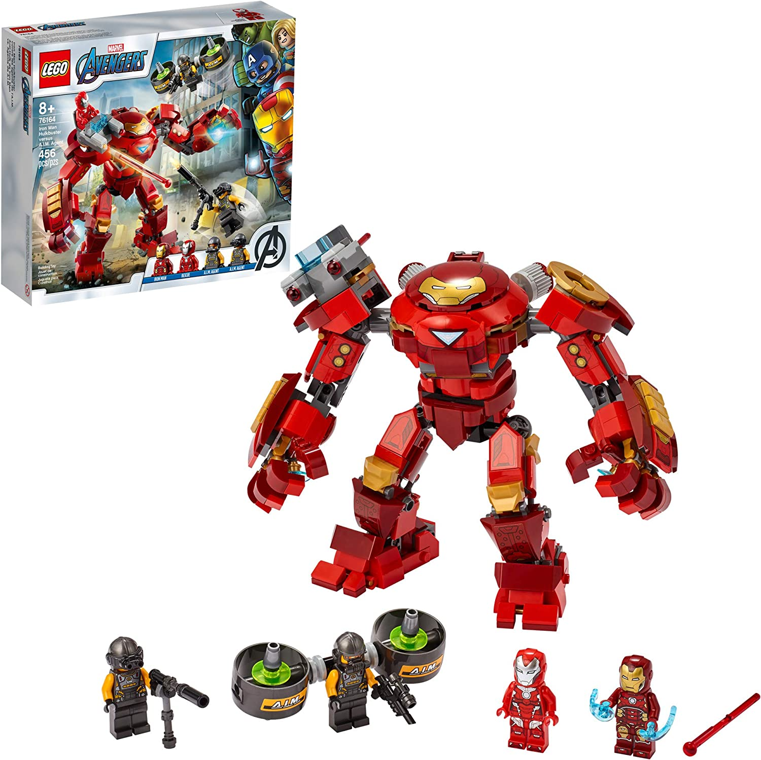 LEGO Marvel Avengers Iron Man Hulkbuster Versus A.I.M. Agent 76164, Cool, Interactive, Brick-Build Avengers Playset with Minifigures, New 2020 (456 Pieces)