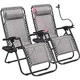 Superworth Set Of 2 Gray Folding Zero Gravity Chairs Sun Lounger Recliner For Beach Patio Garden Camping Outdoor