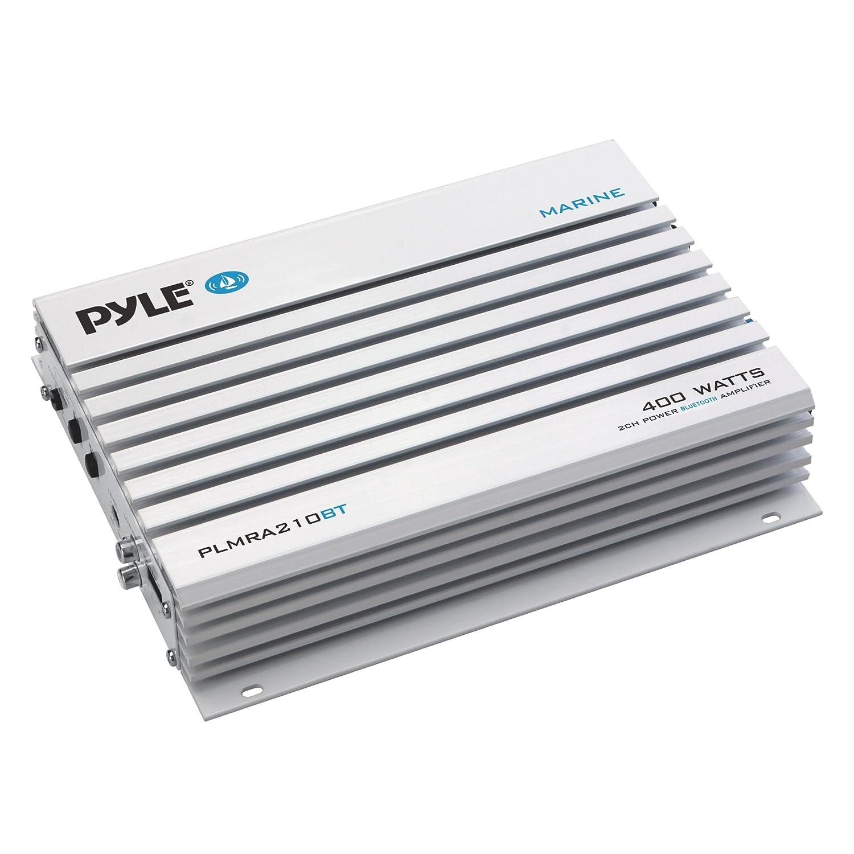 Pyle Upgraded Hydra Marine Amplifier - Elite Series 400 Watt 2 Channel Bridgeable Audio Ampli - Waterproof, Dual MOSFET Power Supply, GAIN Level Controls, RCA Stereo Input & LED Indicator - PLMRA210BT