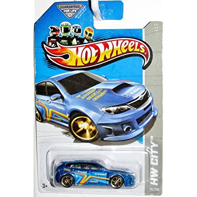 Hot Wheels 2013 Hw City - Subaru WRX STI Wheel Variation/Error! - Blue: Toys & Games
