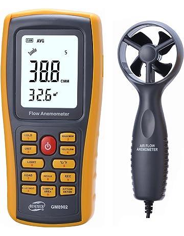 Amgaze Flujo de aire anemómetro, multifuncional Digital viento velocidad aire flujo medidor aire temperatura medidor