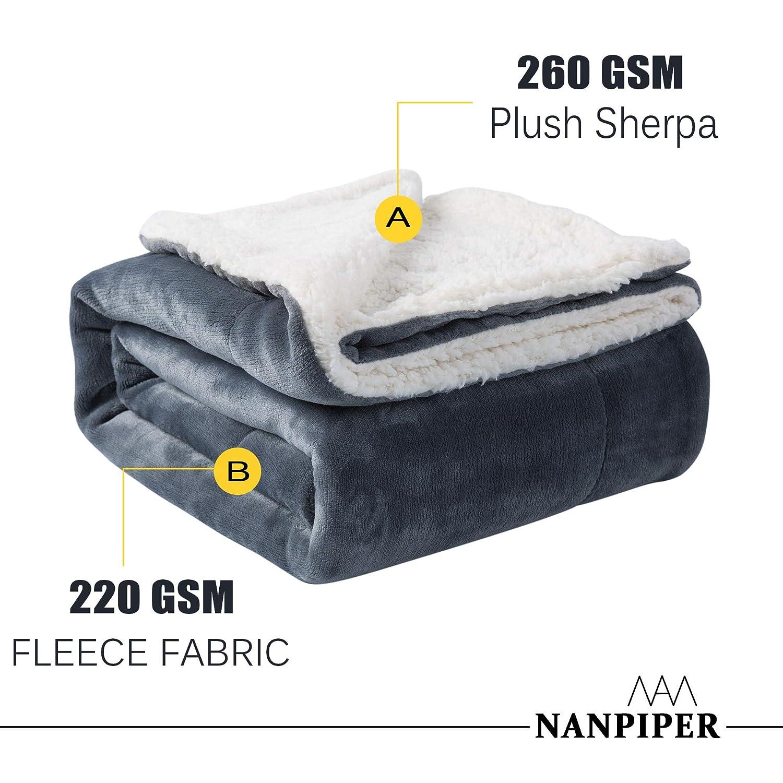 NANPIPER Sherpa Blanket Twin Thick Warm Blanket for Winter Bed Super Soft Fuzzy Flannel Fleece//Wool Like Reversible Velvet Plush Blanket YGA6080WI Wine Red Twin Size 60x80