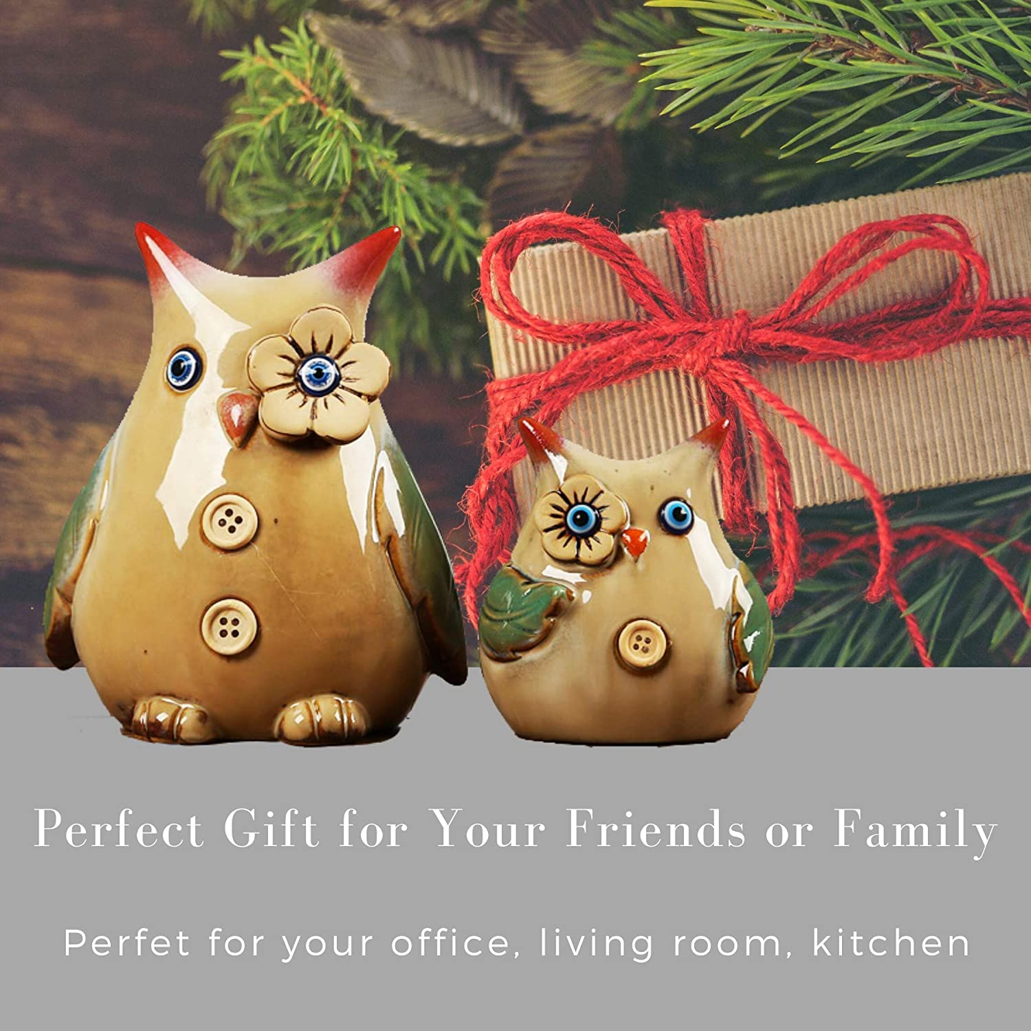 Bedroom Office Owl Figurine Statue Decor Living Room Set of 2 Great Owl Lovers Gift Idea by Blue Lotus Decor for Home