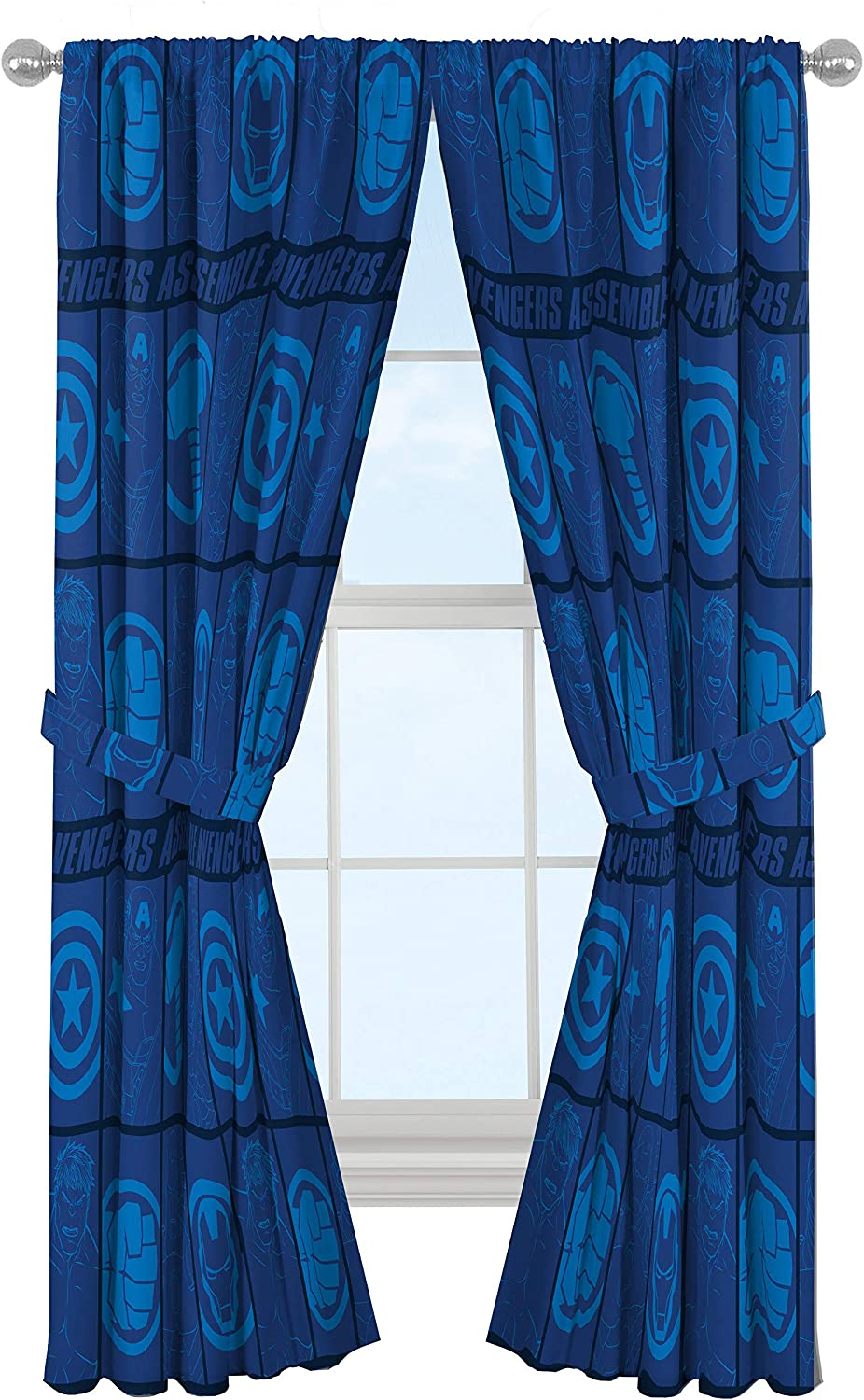 "Marvel Avengers Blue Icons 84"" Inch Drapes - Beautiful Room Décor & Easy Set Up, Bedding Features Captain America & Iron Man - Curtains Include 2 Tiebacks, 4 Piece Set (Official Marvel Product)"