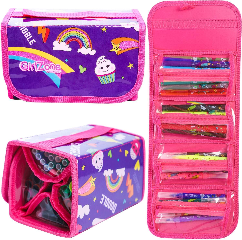 GirlZone Regalos para Niñas - Estuche Enrollable Rotuladores - Estuche Enrollable - 38 Rotuladores Perfumados - Scented Pens - Set de Papelería - Regalo Niña 3 a 12 Años