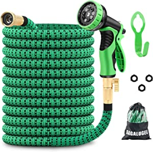 GAGALUGEC 50ft Expandable Garden Hose with 9 Function Nozzle, Leakproof Lightweight Retractable Water Hose with Solid Brass Fittings, Extra Strength 3750D Durable Gardening Flexible Hose Pipe