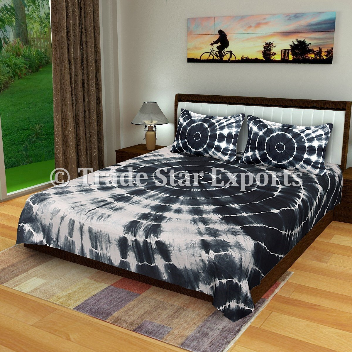 Trade Star Exports Indian Shibori Bedspread, Indigo Bed Cover, Tie Dye Queen Bedding Set, Handmade Cotton Bed Sheet 2 Pillow Cases (Pattern 1) TS-HB-329