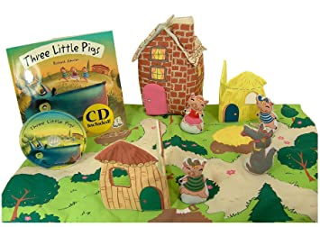 Amazoncom Three Little Pigs Play Set with Matching Pop up Book