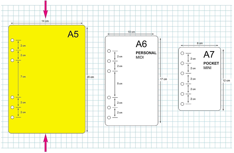 ricambio//ricarica per agenda organizerformato A5 con 6 anelli 14x20cm 200 fogli a puntini carta bianca