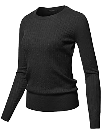 3384cfd1b1 Awesome21 Solid Long Sleeve Round Neck Cable Knit Sweater Black Size S
