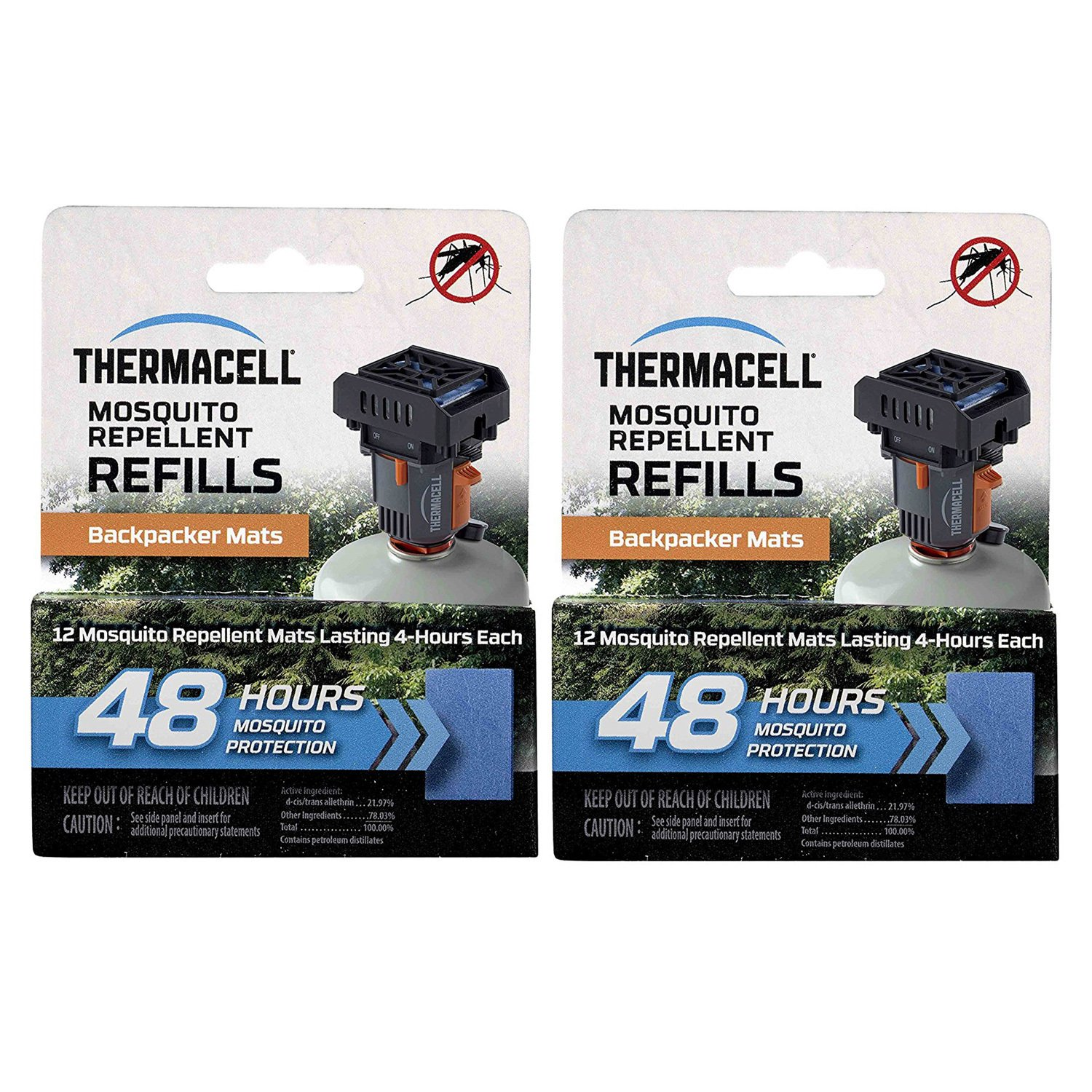 Thermacell M48 48-hrs Backpacker Mosquito Repellent Mats for MR-BP Repeller (24-Pack) by Thermacell