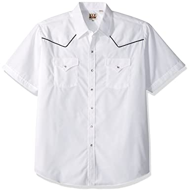 7751d45b ELY CATTLEMAN Men's Short Sleeve White Western Shirt at Amazon Men's  Clothing store: