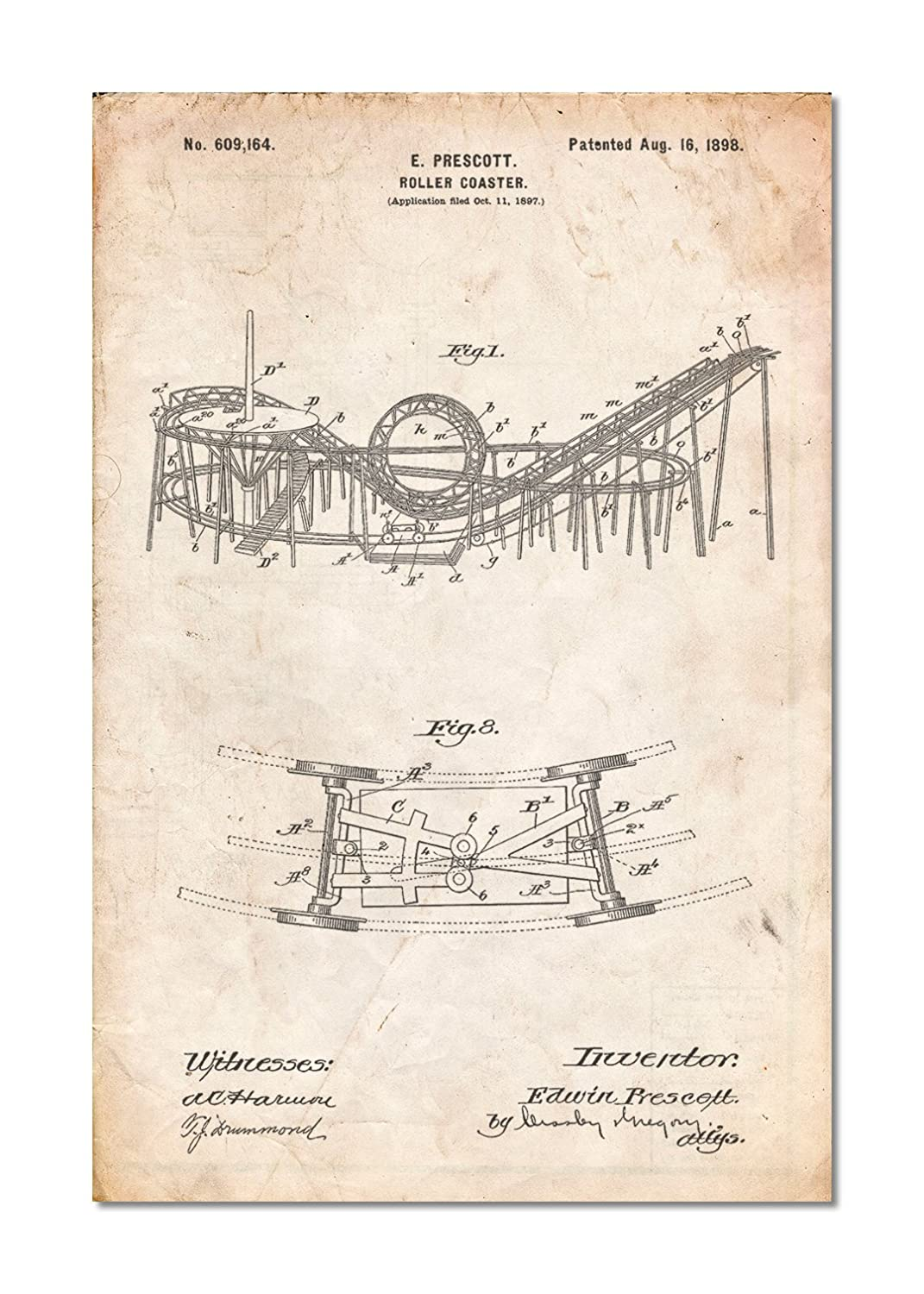 Coney Island Loop The Roller Coaster Patent Poster Diagram Posters Prints