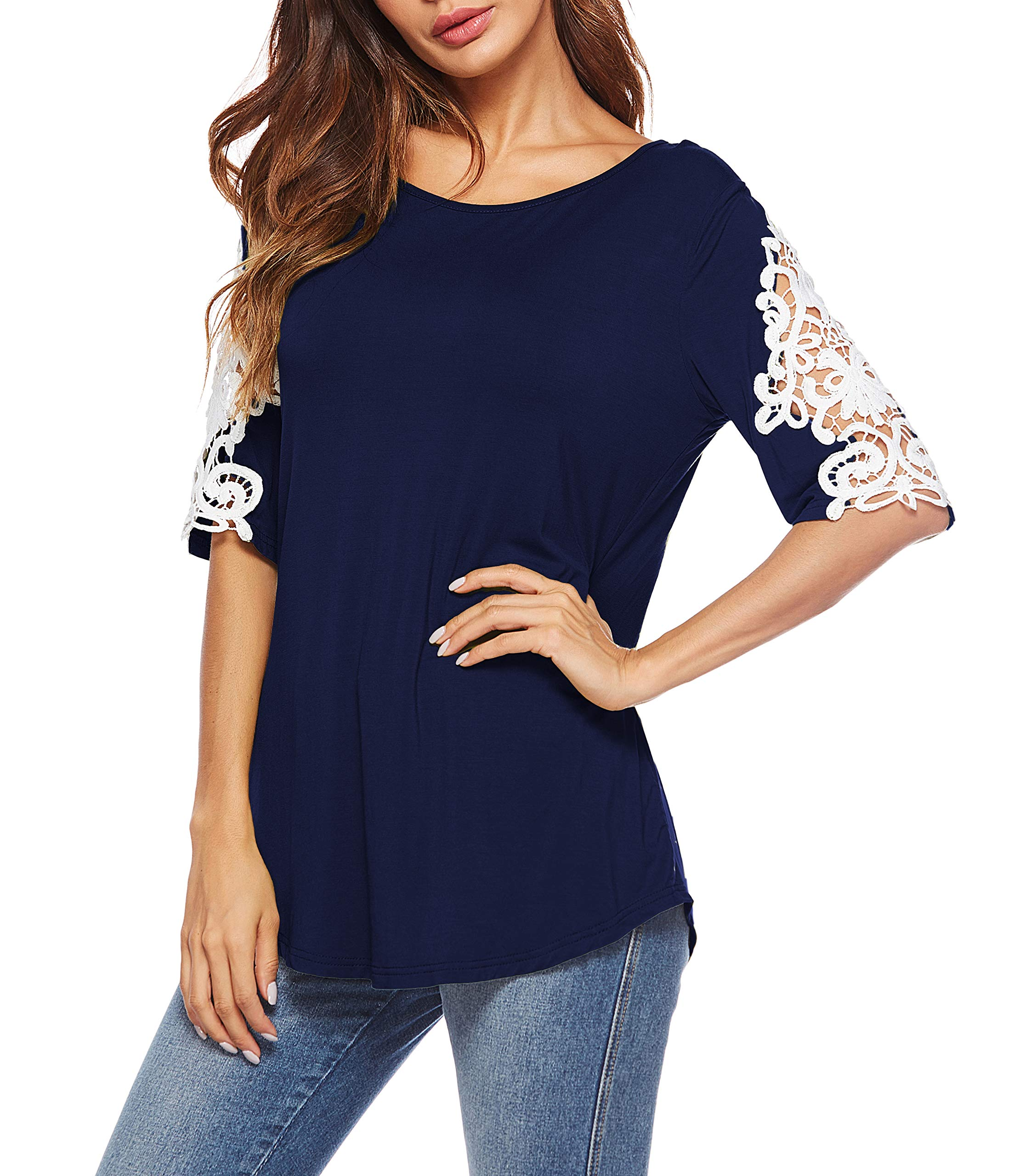 Oyanus Womens Shirts Casual Tee Round Neck Short Sleeve Lace Tunic Tops Blouses Navy L by Oyanus