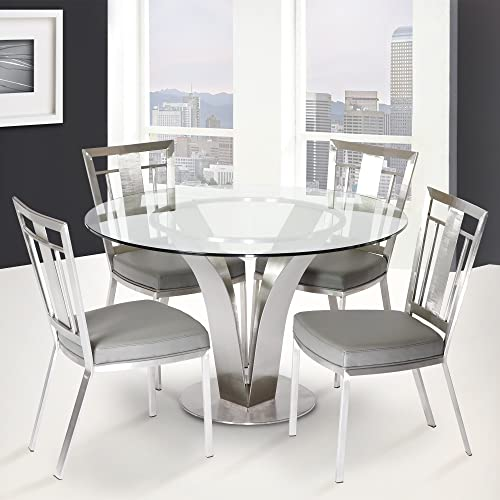 Armen LivingCleo Stainless Steel Contemporary Dining Chair Set of 2 , Gray