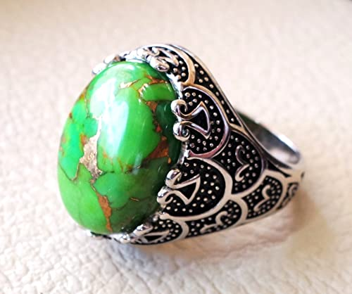 COPPER TURQUOISE RINGS IN 925 SOLID STERLING SILVER JEWELRY FOR HEALING BENEFIT