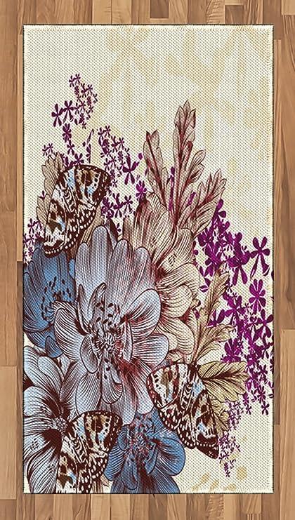 Amazon Com Lunarable Floral Area Rug Hand Drawn Pastel Color