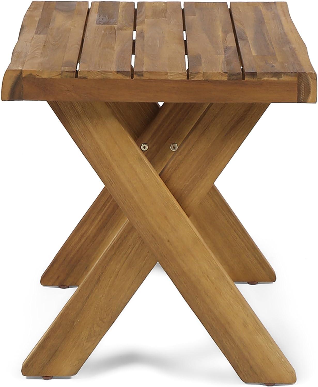 Christopher Knight Home Estelle Indoor Farmhouse Acacia Wood Side Table, Sandblast Teak Finish