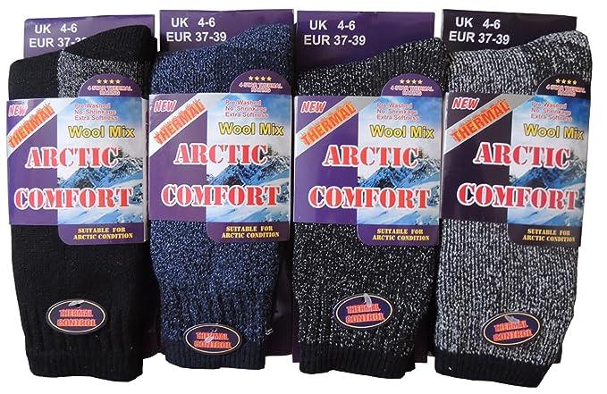 World of Hosiery Juego de calcetines térmicos para mujer (lana, tallas 37-39