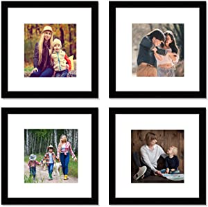 12x12 Black Picture Frame Set,Square Photo Frame with Mat Display Pictures 8x8 or 12x12 Without Mat,PVC Glass,for Wall Home Office Décor(12x12,Black)