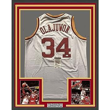 eea22f8ae Hakeem Olajuwon Signed Jersey - FRAMED 33x42 White COA - JSA Certified - Autographed  NBA Jerseys