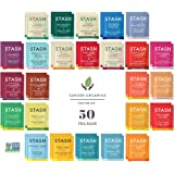 Stash Herbal and Decaf Tea Sampler - 50 Count, 25 Flavors - Caffeine Free - Variety Pack Gift Set - /w Cotton Bag