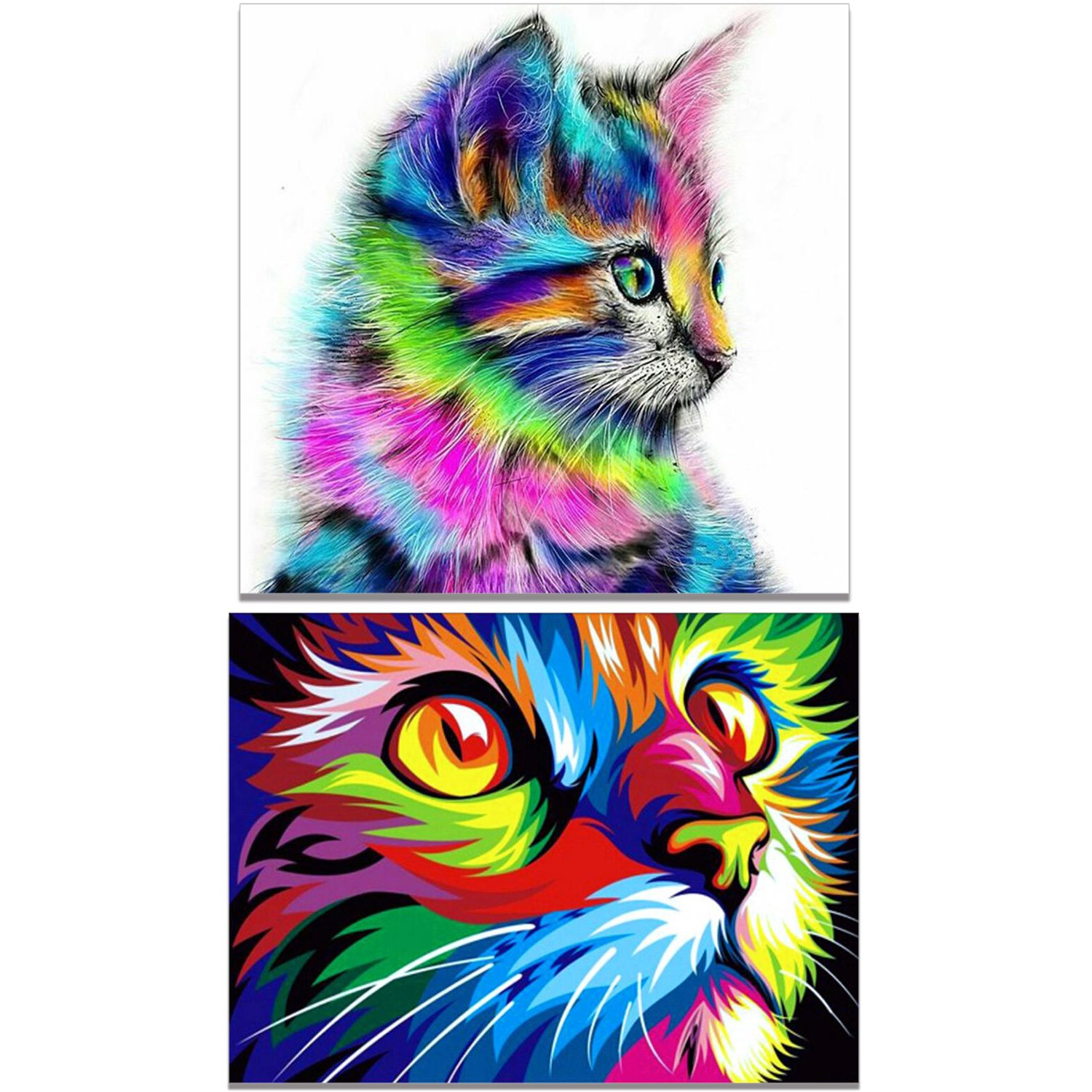 Hestya 2 Sets 5D DIY Diamond Painting Kit Full Drill Cute Cat Crystals Embroidery Tools for Home Decorations Craft