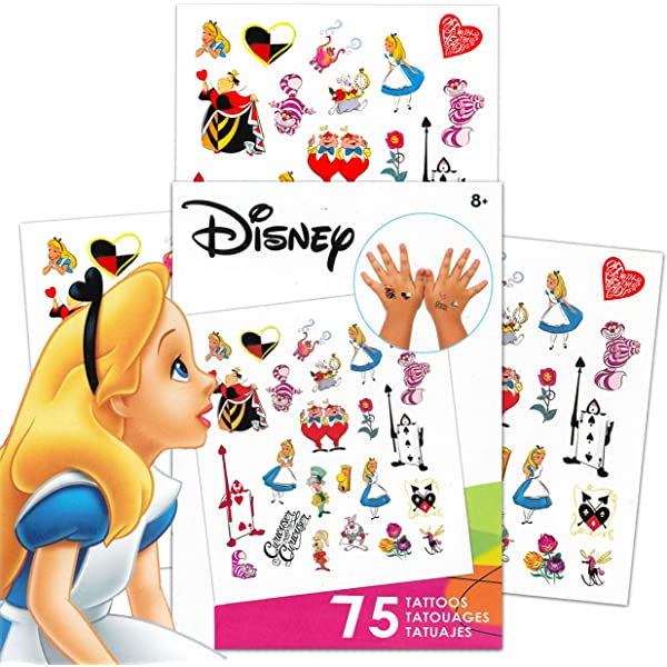 The Mad Hatter and More Disney Alice in Wonderland Stickers Party Favors Set ~ Bundle Includes Over 100 Alice in Wonderland Stickers Featuring Cheshire Cat Alice in Wonderland Party Supplies