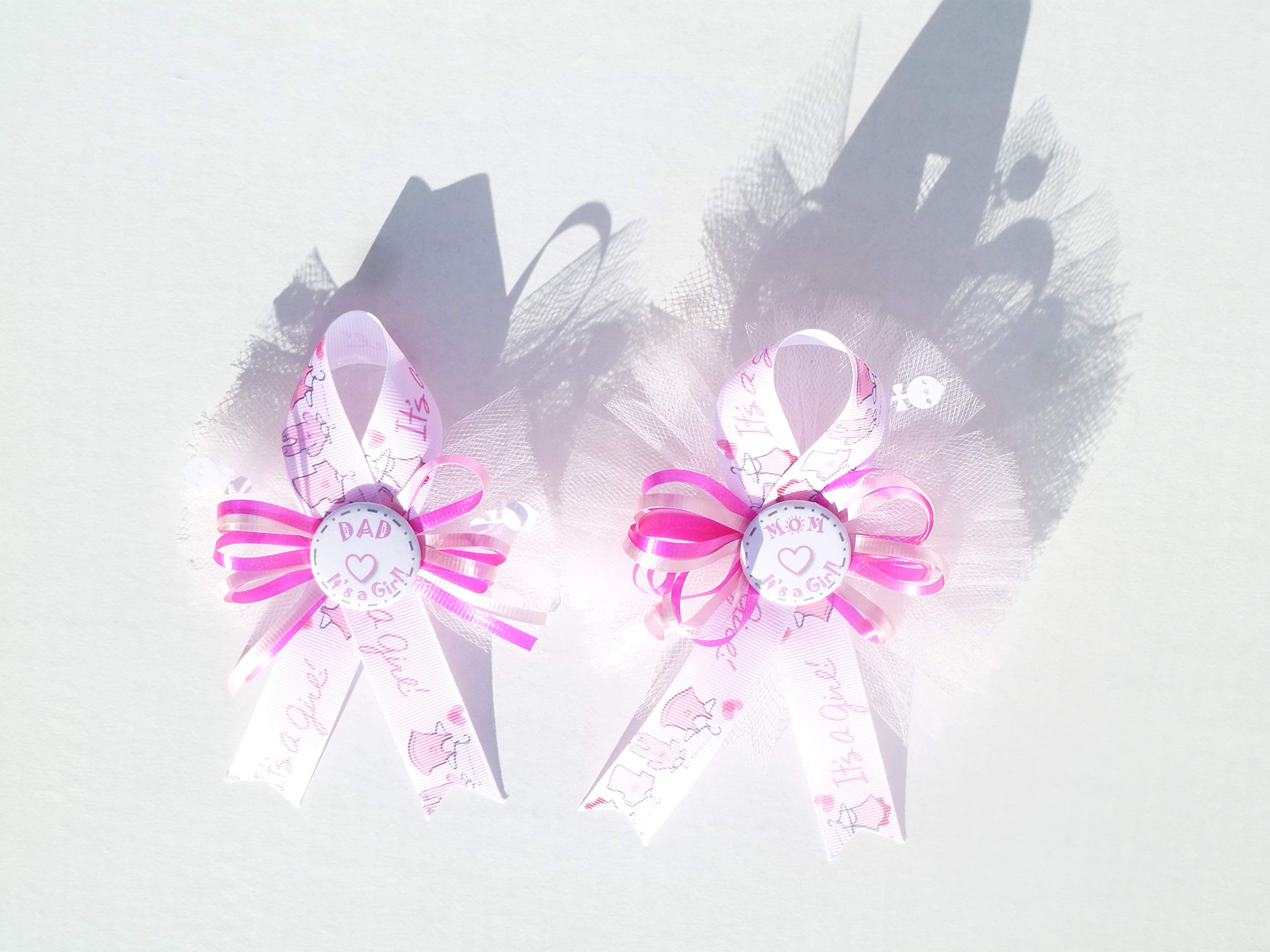 Pink Girl Baby Shower Party Clothesline Theme Baby Shower Mom and Dad Corsage (It's a Girl- Pink)