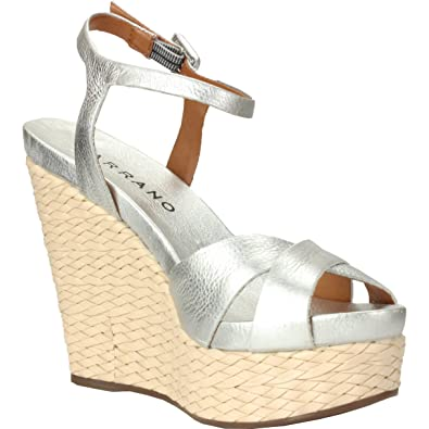 1cf351f3a1c Amazon.com | Carrano Women's Light Silver Metal Leather Wedge Sandal ...
