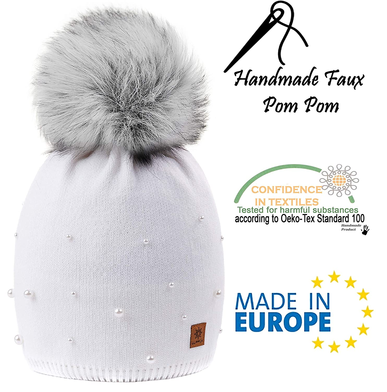a53f4b9e739 4sold Ball Calour Womens Girls Winter Hat Wool Knitted Beanie with Large  Pom Pom Cap Ski