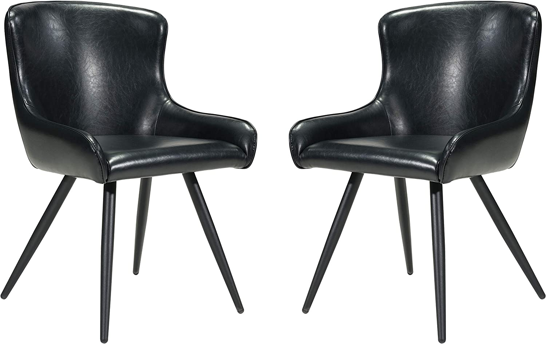 Zuo Modern Dresden Dining Chair, Faux Leather, Steel Legs, 20.5
