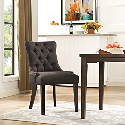 Modway Regent Modern Elegant Button-Tufted Upholstered Fabric With Nailhead Trim, Dining Side Chair, Brown