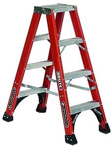 Louisville Ladder 4-Feet Fiberglass Twin Front Ladder, 375-Pound Load Capacity, FM1404HD, Red