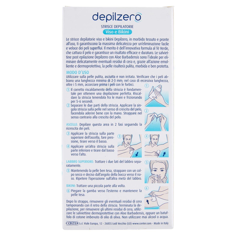 Depilzero - Tiras Depilatorias Cara y Bikini 24 Piezas + 4 Toallitas Exponer Depilación paquete de 6]: Amazon.es: Salud y cuidado personal